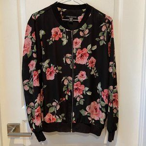 Rose Floral Zipped Cardigan